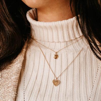 Beaded Heart Charm Necklace