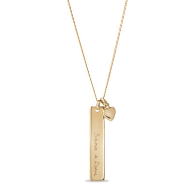 Vertical Bar Necklace with Tiny Heart