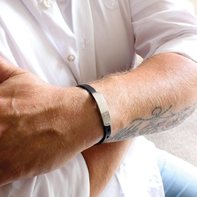 Herren Leder ID Armband mit Initialen